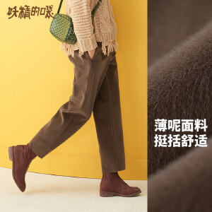 【9.18品牌秒杀:90】妖精的口袋Y秋冬季新款毛呢毛绒阔腿直筒高腰九分休闲裤子女