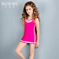 范德安专业儿童泳衣女孩连体裙式可爱防晒速干装大中童游泳衣