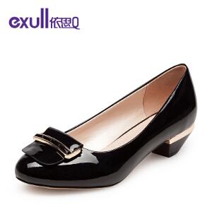 依思q新款镜面圆头套脚粗低跟单鞋舒适优雅女鞋-