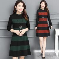 毛呢连衣裙秋冬新款长袖中长款韩版修身显瘦加厚保暖打底裙女