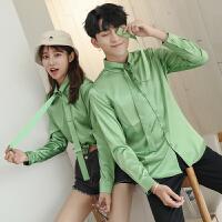 新款秋季潮流长袖纯色衬衫男女情侣装果绿色衬衣工装礼服班服修身