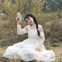 春装新款女装韩版甜美立体花朵收腰网纱仙女裙长款连衣裙两件套装