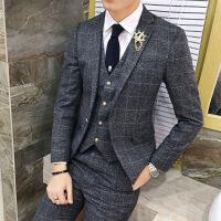 西服套装男士格子三件套小西装男韩版修身帅气新郎结婚郎团礼服潮