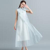 夏装中国风古典复古文艺欧根纱改良旗袍宽松中长款无袖连衣裙