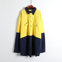 春款男时尚百搭宽松 口袋方领纯色长袖 中长款男士衬衫U26\31