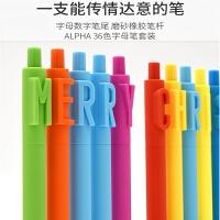 kaco中性笔字母笔创意数字英文按动式黑色中性水笔 36色套装 新年套装 新年礼物学生奖品