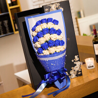 七夕情人节教师节生日礼物送女生女友玫瑰花束特别浪漫香皂花礼盒 藏青色 33朵渐变蓝