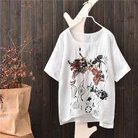 棉麻衬衫女短袖亚麻衬衫 宽松韩版刺绣 重工花朵刺绣上衣苎麻T恤