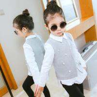 女童上衣打底衫春装新款韩版毛呢衬衫假两件套装中大童时尚t恤衫