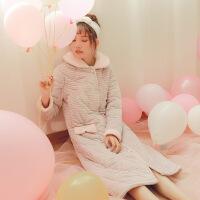 睡袍女冬珊瑚绒韩版加厚加长款冬季长款浴袍睡衣女秋冬法兰绒可爱