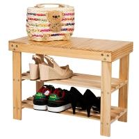[当当自营]慧乐家 换鞋凳 田园简易收纳鞋架子 多层储物坐凳 本色 33019