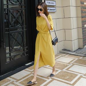 哆哆何伊裙子女夏季收腰短袖显瘦冷淡风法式少女复古极简中长款黄色连衣裙