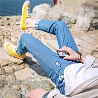 日系刺绣牛仔裤男小脚裤修身韩版休闲裤青少年男生牛仔长裤潮