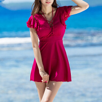 韩国性感黑色遮肩大码温泉泳衣女士连体裙式显瘦大胸钢托聚拢泳装