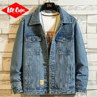 Lee Cooper春新款男士牛仔夹克潮流翻领复古外套韩版个性时尚男式外套