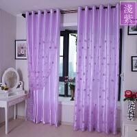 紫色窗帘绣花窗纱帘加厚缎布半遮光卧室阳台客厅欧式公主蕾丝
