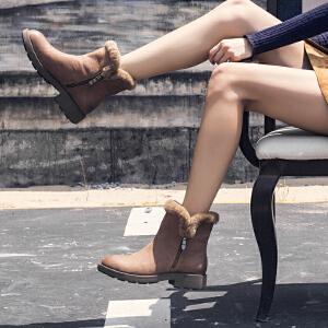 玛菲玛图靴子女冬季2019新款厚底侧拉链仿羊毛保暖短靴那真皮复古马丁靴女57511-2W