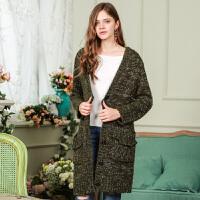 秋装新品V领宽松长袖外套中长款针织衫开衫女D736056M5
