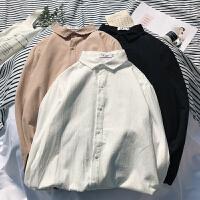男士衬衫2018春季韩版oversize上衣帅气潮流棉麻长袖学生日系衬衣