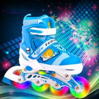 儿童溜冰鞋全套直排轮旱冰鞋滑冰鞋轮滑鞋可调闪光男孩女孩