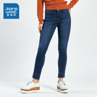 [秒杀价:38.9元,新年不打烊,仅限1.22-31]真维斯女装 冬装新款 白水晶绒贴合牛仔长裤