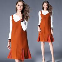 秋装女新款两件套毛呢连衣裙秋冬季中长款宽松显瘦长袖针织裙