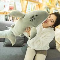 大白鲨鱼抱枕玩偶睡觉布娃娃女生七夕节生日礼物鲨鱼玩具毛绒公仔