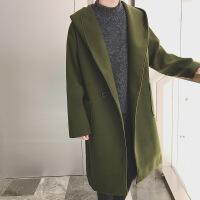 秋冬季2018新款毛呢子大衣男宽松连帽中长款情侣装韩版潮流牌风衣