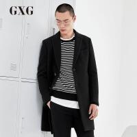 GXG男装 冬季男士修身时尚休闲都市流行黑色毛呢大衣#64126299