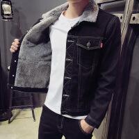 2018冬季新款男士牛仔外套加绒加厚保暖棉衣韩版修身潮流大码夹克