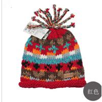 时尚新款秋冬季女士帽子 可爱毛线帽彩色冬帽 手工帽