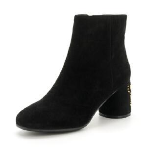 星期六(ST&SAT)17年冬季专柜同款绒面羊皮革/绒布粗跟圆头短靴SS74116446
