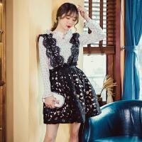 2018新款甜色波点雪纺上衣+蕾丝背带连衣裙a型气质淑女两件套 黑白色