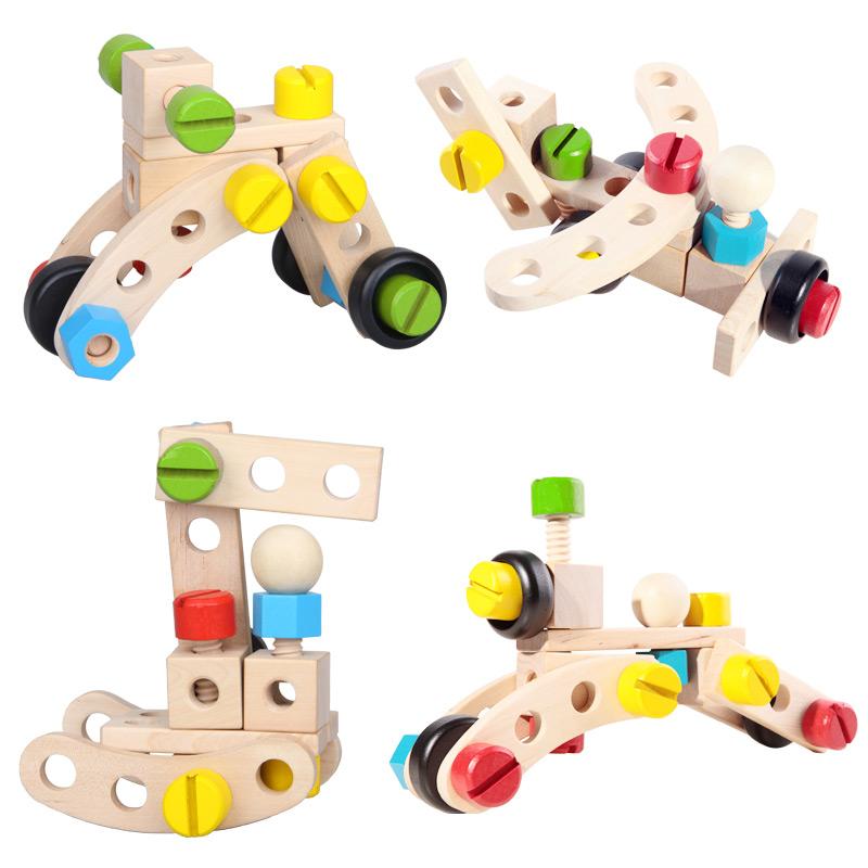 橙爱 DIY智力螺母车 大颗粒木制拆装螺丝积木 儿童益智玩具益智玩具限时钜惠