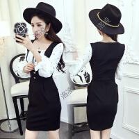 衣服女春装新款潮 韩版学生时尚假两件连衣裙洋气套装 欧洲站