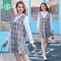 孕妇装2018秋装新款韩版假两件衬衫拼接套装中长孕妇连衣裙
