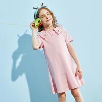 【夏新3件3折:85】巴拉巴拉旗下巴帝巴帝女童粉色连衣裙裙子2020夏装新款公主裙洋气儿童女