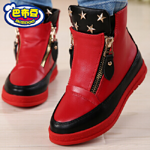 巴布豆童鞋 女童棉靴2016秋冬短靴韩版保暖单靴冬季加绒女童靴子