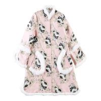秋冬款中国风复古加厚夹棉宽松改良版旗袍少女中长款唐装上衣棉袄 粉红色
