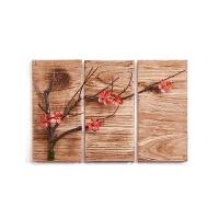 新中式装饰画桃枝红梅挂画沙发客厅书房办公室背景墙壁画