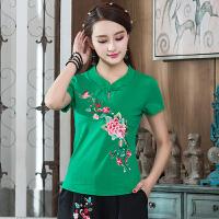 中国风女装上衣 夏装新款 民族风立领 绣花短袖T恤女 打底衫