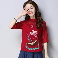 民族风春装新款中国风立领七分袖衬衫女旗袍盘扣复古风中袖上衣女