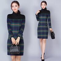 春秋新款韩版高领时尚百搭修身显瘦冬季加厚长袖毛呢连衣裙女