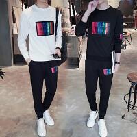 新款2018青少年卫衣套装男士春秋季中学生运动两件套韩版潮流男装