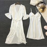 春秋睡裙两件套真丝修身性感睡衣女士冰丝夏季带胸垫吊带睡裙夏季
