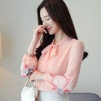 2019春季新款修身打底衬衫韩版大码V领上衣雪纺衬衫女长袖