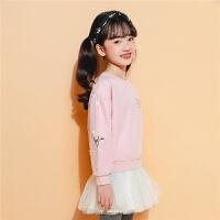 【满399减80】拉夏贝尔冬新款女童套装长袖两件套洋气韩版绣花公主裙洋气