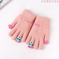 儿童手套男女宝宝秋冬季韩版加绒保暖五指手套4-8岁小孩可爱手套 4-8岁