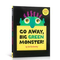 英文原版 Go Away Big Green Monster 走开大绿怪 廖彩杏 张湘君推荐儿童认知书绘本 趣味洞洞书