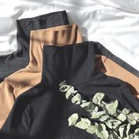 秋冬韩版修身纯色高领长袖T恤 百搭显瘦复古港风休闲打底衫上衣女